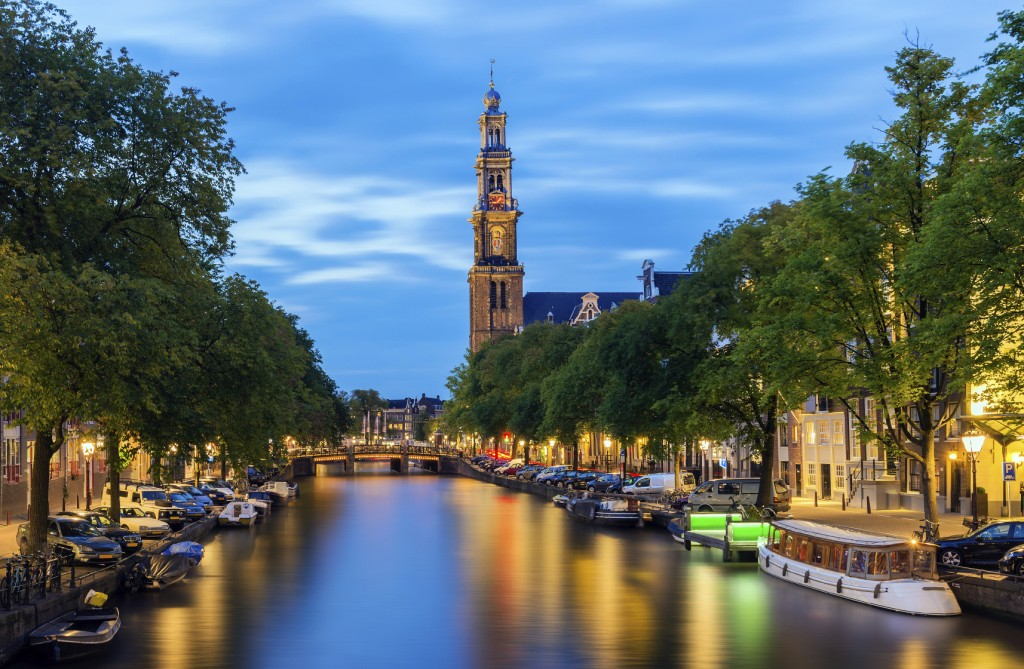 Prinsengracht Canal in Amsterdam at Twilight, the Netherlands