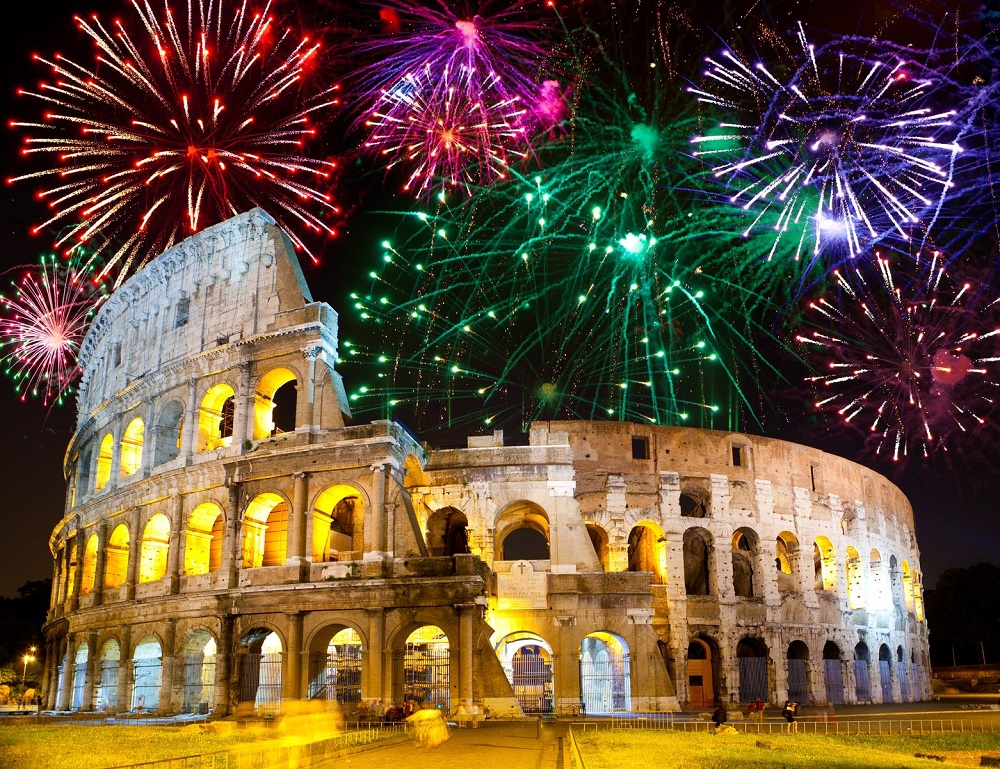 11571196 - celebratory fireworks over collosseo. italy. rome