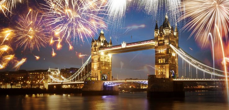 46931767 - tower bridge with firework, celebration of the new year in london, uk